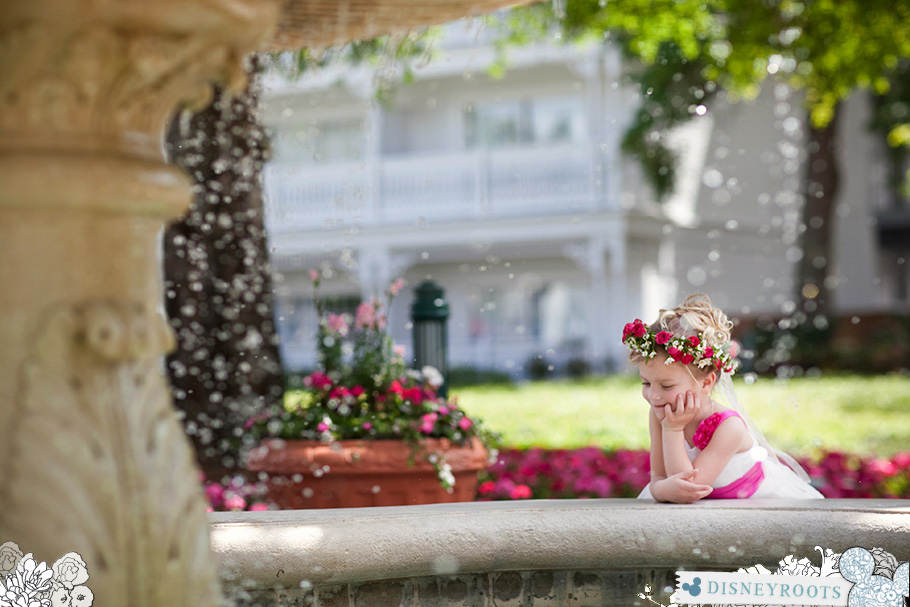 Flower GIrl + Grand Floridian Fountain at WDW