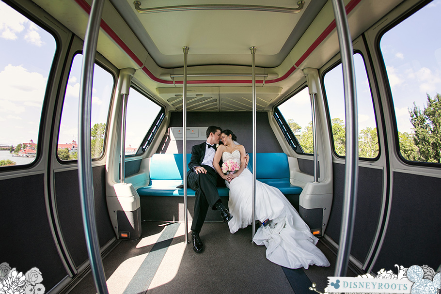 Walt Disney World Wedding Bride and Groom on Monorail