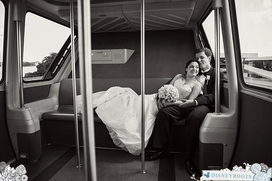 Bride and Groom on Walt Disney World Monorail