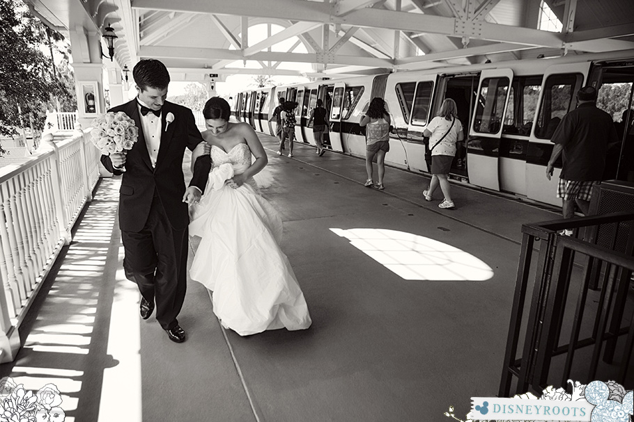 Bride and Groom Walt Disney World Monorail
